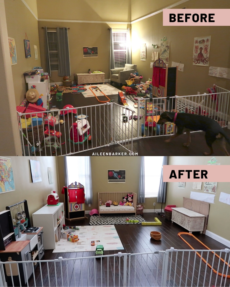 how to declutter toys playroom before and after photos